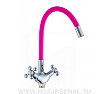 Гусак для кухонного смесителя гибкий розовый