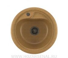Мойка ML-GM10 круглая, песочная (302), 440мм, в комплекте с сифоном 3 1/2, герметик