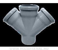 Крестовина канализационная полипропиленовая d-110x110x110 мм угол 45*