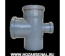 Крестовина канализационная c 3-мя раструбами полипропиленовая d-110x110x50 мм угол 90*
