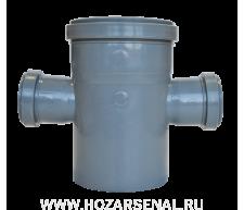 Крестовина канализационная c 3-мя раструбами полипропиленовая d-110x50x50 мм угол 90*