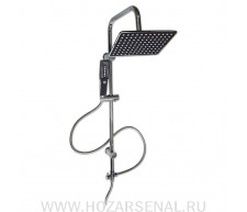 Oskar Стойка душевая тропический душ с черными квадратными лейками