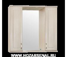 Зеркало-шкаф Олеандр-2 900 со светильником, люкс патина