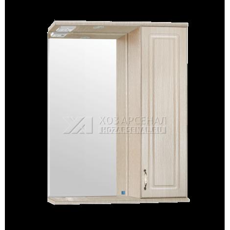 Зеркало-шкаф Олеандр-2 550, со светильником, люкс патина