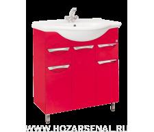 Тумба Жасмин с 2 ящиками под умывальник Байкал 750, красная