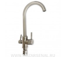 MAGNUS Смеситель для кухни С-образный гусак, шаровый, с фильтром, нержавеющая сталь (Aisi 304)