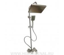 MAGNUS Смеситель+стойка душевая тропический душ с квадратными лейками, плоский корпус, из нержавеющей стали (304)